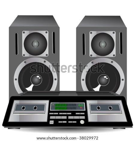 Cassette player with loudspeakers - stock vector