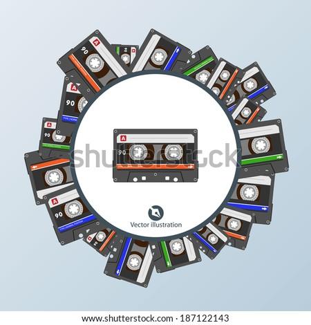 cassette tape background - stock vector