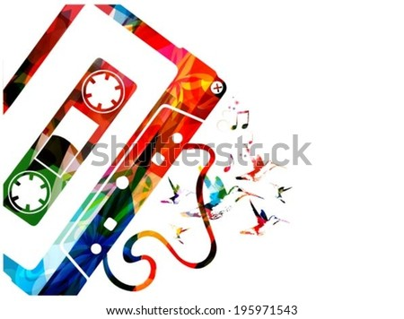 Cassette tape background - stock vector