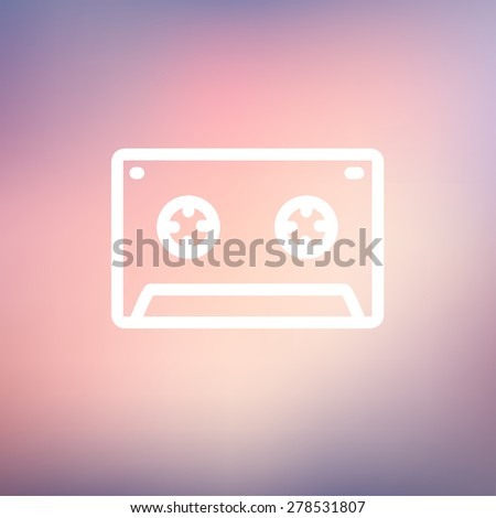 Cassette tape icon thin line for web and mobile, modern minimalistic flat design. Vector white icon on gradient mesh background. - stock vector