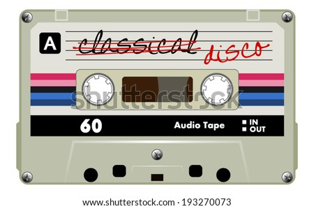 Cassette tape, old gray musical audio cassette with red, pink and blue stripes. vector art image illustration, isolated on white background - stock vector