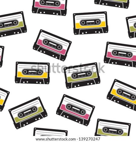cassette tape pattern - stock vector