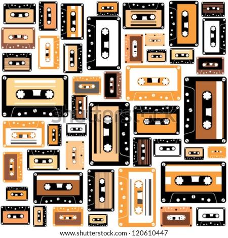 Cassette tape seamless pattern. - stock vector