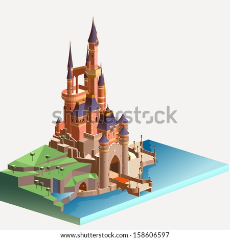 castle and kingdom isometric illustration. detailed building vector isometric - stock vector