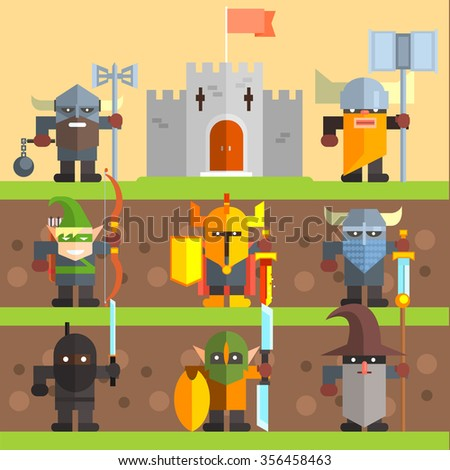 Castle and Knights. Medieval Game Vector Illistrations - stock vector