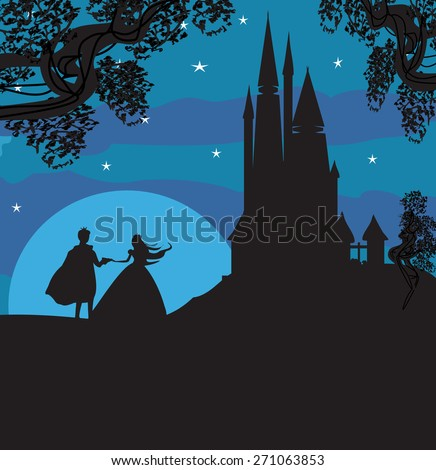 castle and princess with prince - stock vector