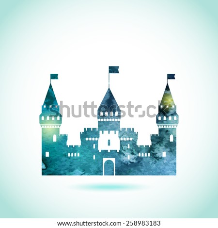 Castle fairy tale icon. Flat vector pattern silhouette isolated. Textured vintage old style card with lights and volume shadows. - stock vector