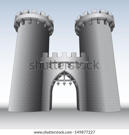 castle gate with two towers  and sky vector illustration - stock vector