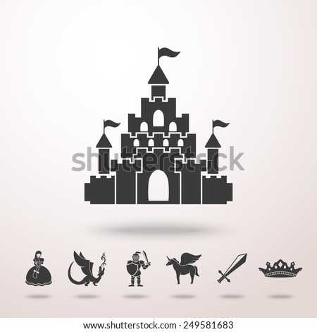 Castle icon with shadow ans set of monochrome fairytale (game) icons - sword, knight, dragon, princess, crown, unicorn, castle. Vector - stock vector