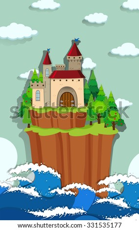 Castle on the island illustration - stock vector