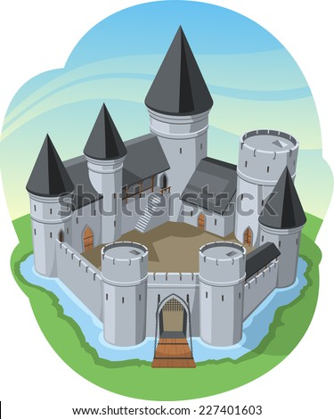 Castle Surrounding Wall Stone Fort, surrounded by water vector illustration cartoon. - stock vector