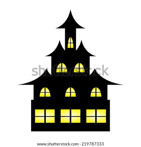 Castle witches on Halloween - stock vector