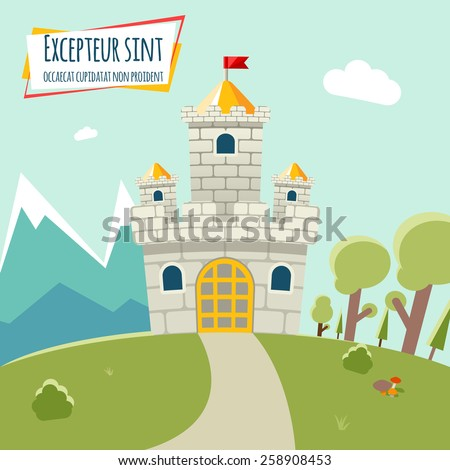 Castle with a high tower and flag. Around the castle forest and mountains. Vector illustration - stock vector