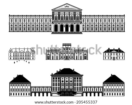 Castles, palaces and mansions vector illustration. Five black and white vector illustrations of castles, palaces and mansions - stock vector