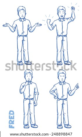 Casual man illustration in different emotions and poses, angry, happy, thoughtful, clueless, hand drawn sketch - Fred part 1 - stock vector