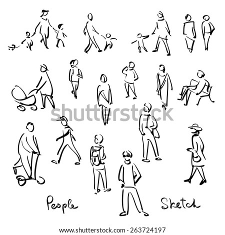 Casual People Sketch. Outline hand drawing vector Illustration - stock vector