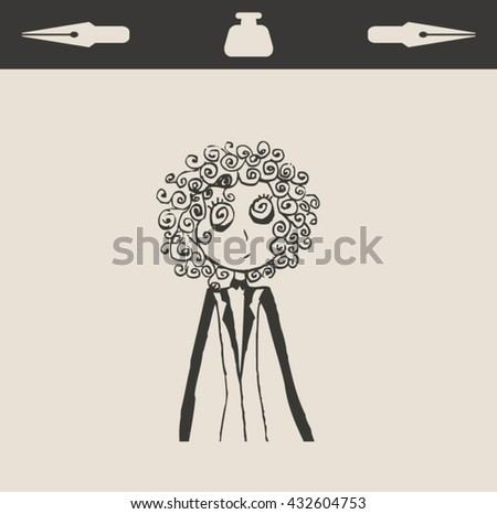 Casual portrait of sad girl women or boy , in retro vintage engraving etching sketch hand drawn style - stock vector