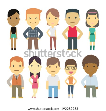 casual set characters for use in design - stock vector
