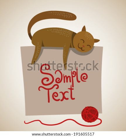 cat and banner, vector - stock vector