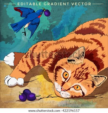 Cat and Bird Illustration - stock vector