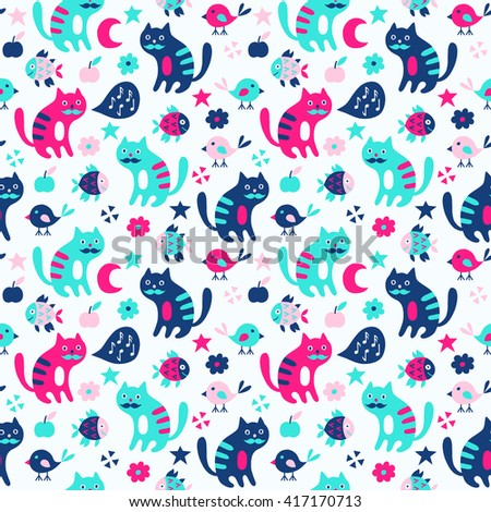 Cat and bird seamless pattern. Vector illustration. - stock vector