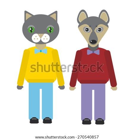 cat and dog animals set in Trendy Flat Style. zoo infographics design. Vector - stock vector