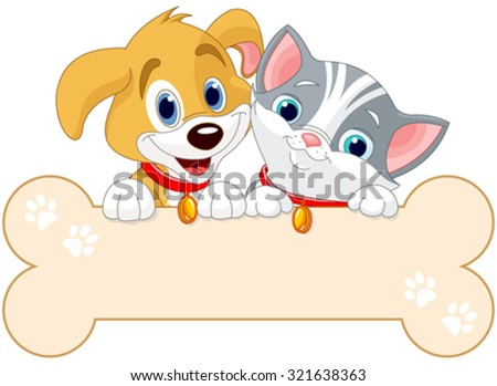 Cat and dog are holding sign (add your own message) - stock vector