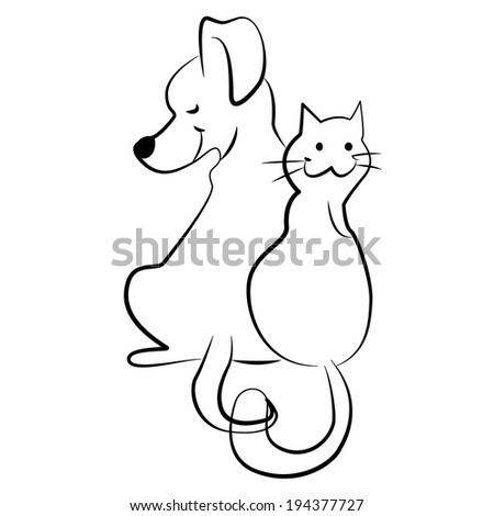 cat and dog - freehand vector illustration - stock vector