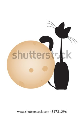 cat and  moon - stock vector