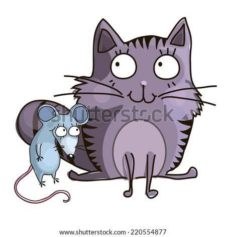 cat and mouse - stock vector