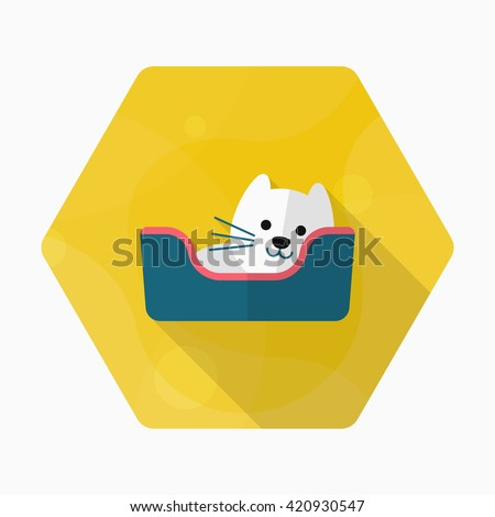 Cat bed icon , Vector flat long shadow design. - stock vector