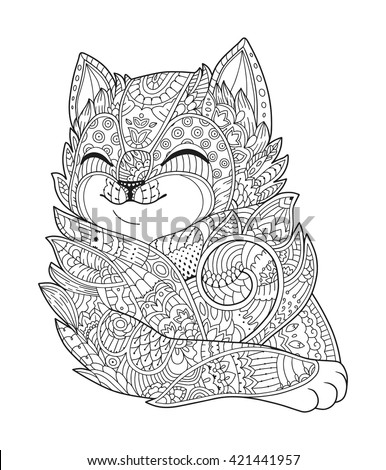 Cat black white vector. Zen art. Hand drawn fat fluffy animal portrait in zentangle style for adult coloring page. Zendoodle. Illustration on a white background. T-shirt print. - stock vector