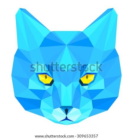 Cat. Blue cat. Abstract cat. Cat icon. Cat. Polygonal cat. Cat. Geometric cat. Cat portrait. Cat. Abstract cat. Cat. Cat.Graphic cat. Cat gaze. Cat icon. Isolated cat. Cat.Cat icon. Cat icon. Cat card - stock vector