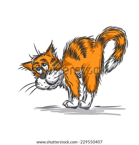 Cat caress. Vector sketch. - stock vector