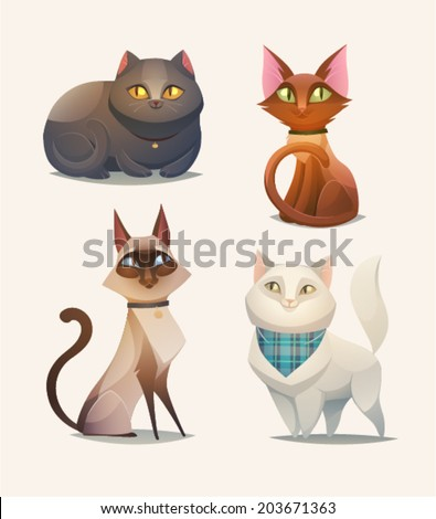 Cat characters. Cartoon vector illustration. - stock vector