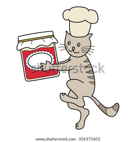 Cat chef carries a jar of marmalade, kitchen scene. Vector image.  - stock vector