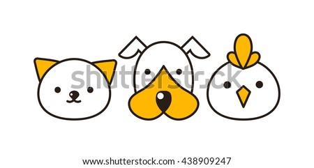 Cat, dog and bird vector illustration. Animal had set, domestic cat, dog and farm bird feline portraits. Cute little mammals characters different group domestic cat, dog and little bird animal. - stock vector