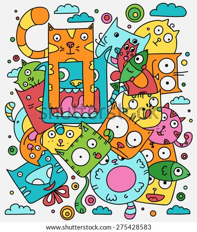 Cat doodle vector illustration, cute cartoon animals in color - stock vector