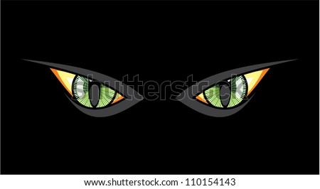 Cat eyes in dark night - stock vector