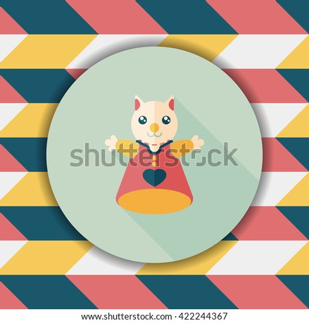 cat hand puppet flat icon with long shadow,eps10 - stock vector