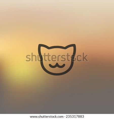 cat icon on blurred background - stock vector