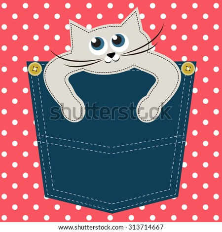 Cat in pocket - stock vector