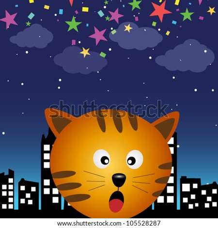 Cat in the city at night - stock vector