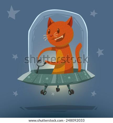 Cat in Ufo, vector - stock vector