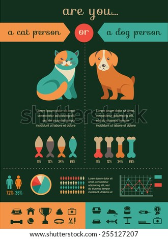 Cat infographics with vector icons set and elements - stock vector