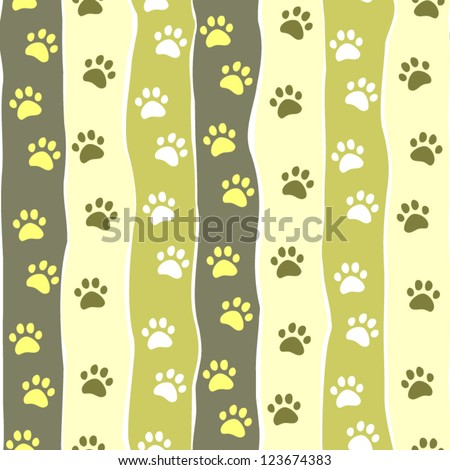Cat or dog paw striped seamless pattern, vector - stock vector
