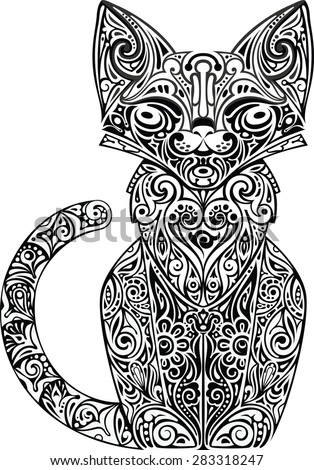Cat patterned - stock vector