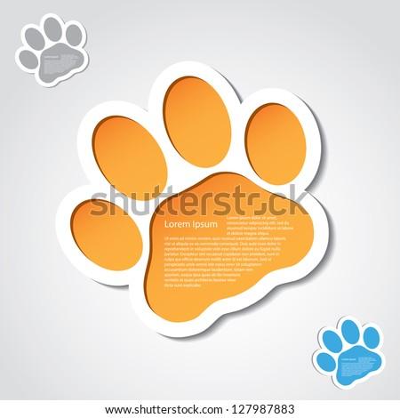 Cat paw banner - vector illustration - stock vector