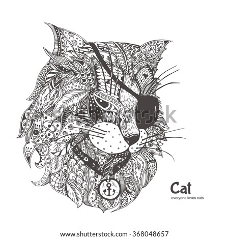 Cat-pirate. Hand-drawn cat with ethnic floral doodle pattern. Coloring page - zendala, design for spiritual relaxation for adults, vector illustration, isolated on a white background. Zen doodles. - stock vector