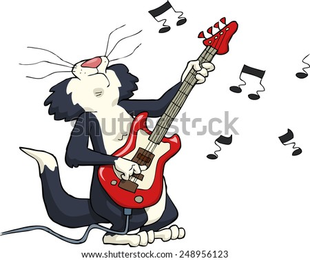 Cat playing on electric guitar vector illustration - stock vector